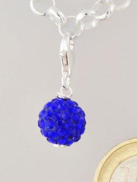 Charm mit Strass-Keramik-Perle blau, L. ca. 2,5 cm