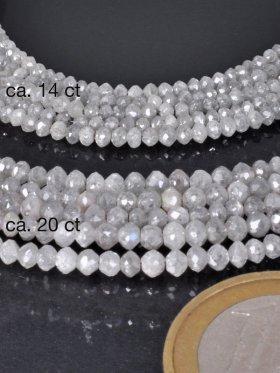 Diamant facettiert, grau, versch. Größen, ca. 38 cm, Strang - 20 ct