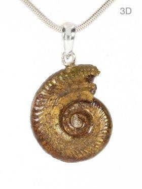 Gold-Ammonit aus den Midi-Pyrénées, Frankreich, Anhänger mit Silberöse