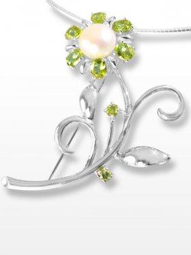 Peridot und Perle, Anhänger/Brosche, Flora Collection