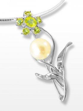 Perle und Peridot Anhänger/Brosche, Flora Collection