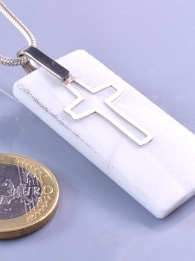 Laaser Marmor mit Silberkreuz, Südtirol, Unikat