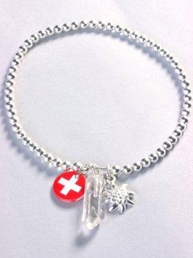 Armband Schweiz mit Bergkristall und Edelweiß, Länge 18 cm