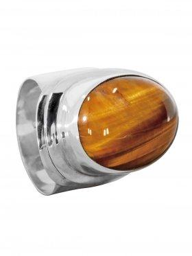 Ring aus dem Schmuckstein Tigerauge in 925 Silber, verschiedene Größen erhältlich