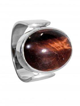 Ring aus dem Schmuckstein Tigerauge rot in 925 Silber, verschiedene Größen erhältlich