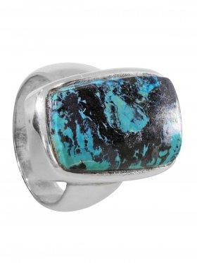 Ring aus dem Schmuckstein Chrysokoll in 925 Silber, Ringgröße 52, Unikat