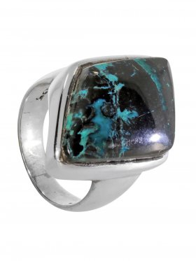Ring aus dem Schmuckstein Chrysokoll in 925 Silber, Ringgröße 56, Unikat