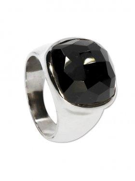 Ring Onyx aus Brasilien, Cabochon carrée facettiert, 925 Silber, Größe 57