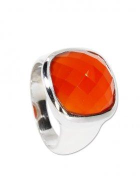 Ring Karneol (Achat rot) Cabochon carrée facettiert, 925 Silber - Größe 61
