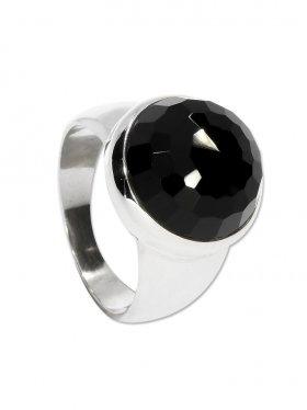 Ring Onyx, Cabochon rund facettiert, 925 Silber - Größe 61