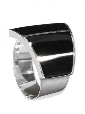 Perlmutt schwarz aus den Philippinen, Ring verstellbar, 925 Silber, 1 St.