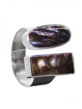 Perlmutt black rainbow aus den Philippinen, Ring in verschiedenen Größen 925 Silber, 1 St.