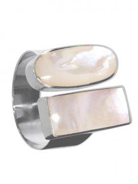 Perlmutt weiss aus den Philippinen, Ring in verschiedenen Größen 925 Silber, 1 St.