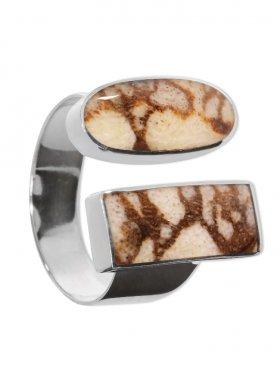 fossile Koralle (Tigerkoralle), Ring in verschiedenen Größen 925 Silber, 1 St.