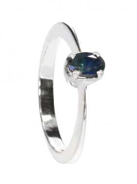 Saphir, Ring in 925 Silber gefasst, Größe 52