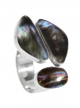 Perlmutt black rainbow, Ring offen in verschiedenen Größen 925 Silber, 1 St.