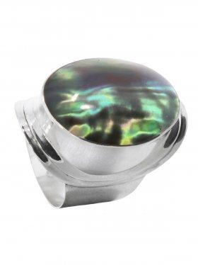Perlmutt black rainbow, Ring in verschiedenen Größen, 925 Silber, 1 St.