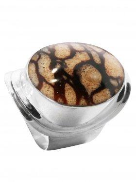 Fossile Koralle (Tigerkoralle), Ring in verschiedenen Größen, 925 Silber, 1 St.