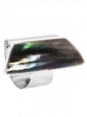 Perlmutt black rainbow, Ring verstellbar, in drei Größenstufen (S, M, L), 925 Silber, 1 St.