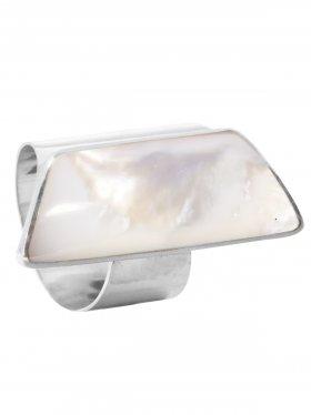 Perlmutt weiß, Ring verstellbar, in drei Größenstufen (S, M, L), 925 Silber, 1 St.