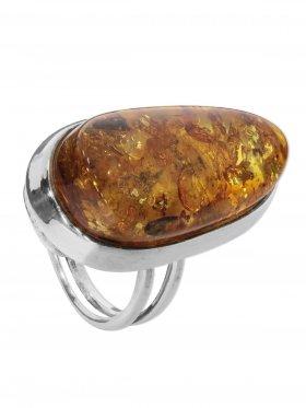 Ring Bernstein, Baltikum, Größe verstellbar von 54 - 56, 925er Silber, Unikat