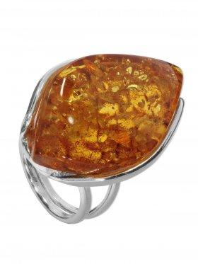 Ring Bernstein, Baltikum, Größe verstellbar von 53 - 54, 925er Silber, Unikat