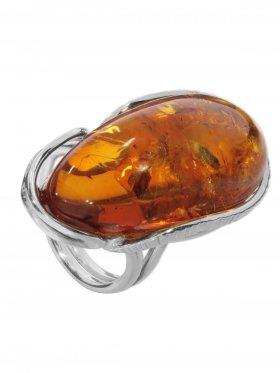 Ring Bernstein, Baltikum, Größe verstellbar von 57 - 58, 925er Silber, Unikat