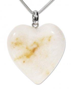 Souvenir aus Kärnten - Anhänger Herz aus Schneequarz mit einer Silberöse, Unikat