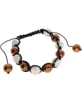 Muschelkernperle in verschiedenen Farben und Strass-Keramik-Perlen weiss, Shamballa Armband mit verstellbarer Fallschirmschnur, 1 St.