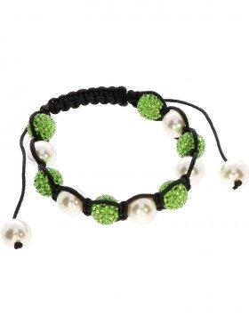 Muschelkernperle weiß und Strass Kugel grün ø 10 mm, Shamballa Style Armband mit verstellbarer Fallschirmschnur, 1 St.