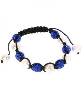 Muschelkernperle weiß und Strass Kugel blau ø 10 mm, Shamballa Style Armband mit verstellbarer Fallschirmschnur, 1 St.