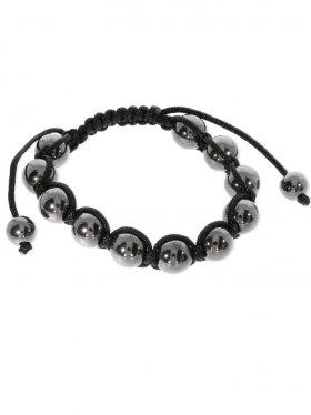 Hämatit rek., Shamballa Style Armband, Länge verstellbar, Kugel poliert ø 10 mm, 1 St.