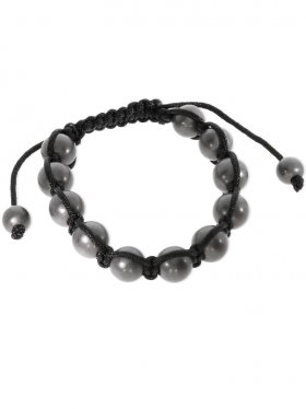 Hämatit oder Onyx, Shamballa Armband mit verstellbarer Fallschirmschnur, Kugel poliert oder matt, 1 St.