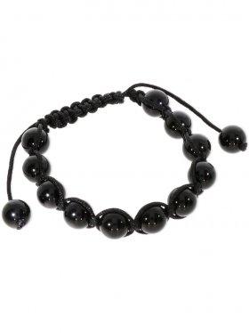 Onyx beh., Shamballa Style Armband, Länge verstellbar, Kugel poliert ø 10 mm, 1 St.
