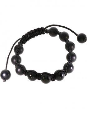 Onyx beh., Shamballa Style Armband, Länge verstellbar, Kugel matt ø 10 mm, 1 St.