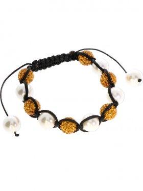 Muschelkernperle weiß und Strass Kugel gold ø 10 mm, Shamballa Style Armband mit verstellbarer Fallschirmschnur, 1 St.