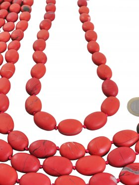 Jaspis rot aus Südafrika, Olive matt 16/13 mm, Strang Länge ca. 41 cm, 1 St.
