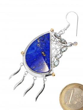Große Lapis Designer Ohrhänger mit 925 Silber, 750 Gold, facettierten Aquamarin Edelsteinen und einem cabochon geschliffenen Regenbogenmondstein, Unikate