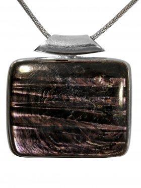Kettenanhänger aus dem Schmuckstein Hypersthen, Silber, Einzelstück