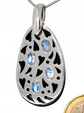 Onyx, Mondstein, Anhänger, abnehmbares Silberelement mit Herzmuster, 1 Stück