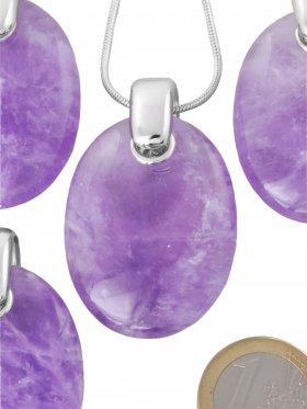 Kettenanhänger aus dem Schmuckstein Lavendel-Amethyst, Silber rhodiniert