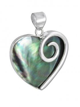 Perlmutt black rainbow aus den Philippinen, Anhänger Herz mit Öse, 925 Silber, 1 Stück