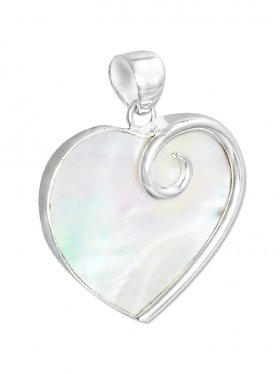 Perlmutt weiss aus den Philippinen, Anhänger Herz mit Öse, 925 Silber, 1 Stück