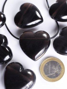 Lamellenobsidian, Anhänger Herz gebohrt