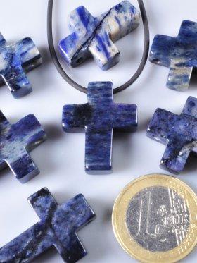 Dumortierit, Anhänger Kreuz gebohrt