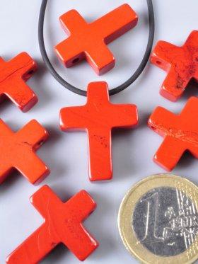 Jaspis rot, Anhänger Kreuz gebohrt