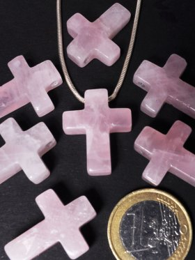 Rosenquarz, Anhänger Kreuz gebohrt