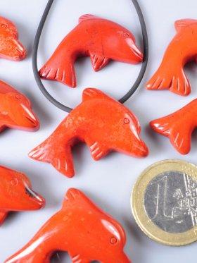 Jaspis rot, Anhänger Delphin gebohrt