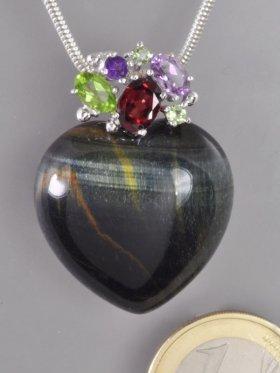 Falkenauge Herz Anhänger mit Edelsteinen und Silber, Flora Collection