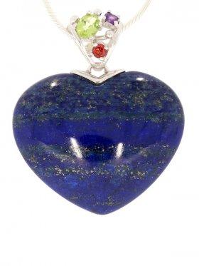 Lapis Herz, Anhänger mit Edelsteinen, Flora Collection